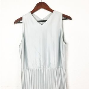Vintage Silver Pleated Long Dress
